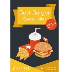 Isometric food burger french fries and cola vector