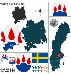 Map of Vastmanland vector image vector image