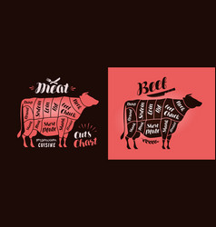 meat cut charts food butcher shop beef concept vector image