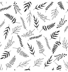 Monochrome leaves pattern vector image vector image