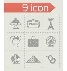 Paris icon set vector