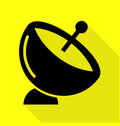 Satellite dish sign black icon with flat style vector