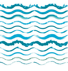 set of hand drawn seamless wave borders vector image vector image