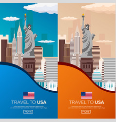 set travel to usa new york poster skyline statue vector image