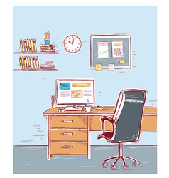 Sketchy color of office interior room vector image vector image