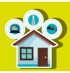 Smart home with set services isolated icon vector