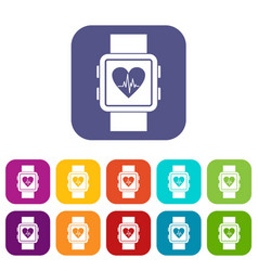 Smartwatch icons set vector