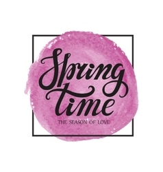 Spring time letteringwatercolor lilac splash vector