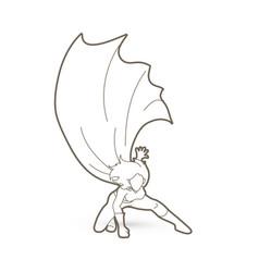 Strong woman superhero landing powerful action vector