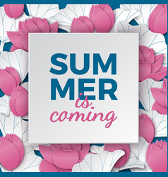 summer is coming banner with lotus flowers vector image vector image