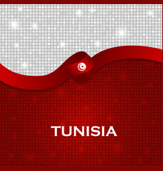 Tunisia flag ribbon shiny particle style vector