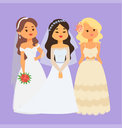 Wedding brides characters vector