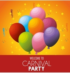 Welcome carnival party celebration balloons stars vector