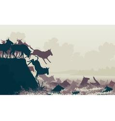 Wilderbeest river crossing vector