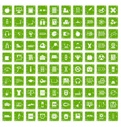 100 learning kids icons set grunge green vector image