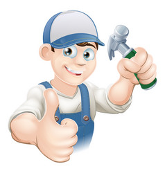 Thumbs up carpenter or builder vector