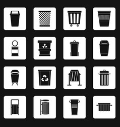 garbage container icons set squares vector image