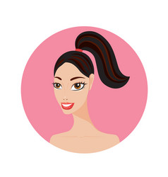 Beautiful young woman with ponytail hairstyle vector