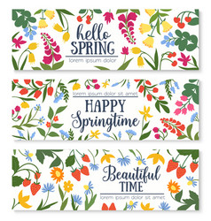 Spring floral banner with flower and berry frame vector