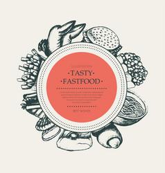 Fast food - modern hand drawn round banner vector