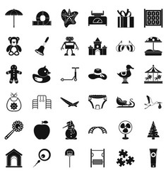 Nice childhood icons set simple style vector