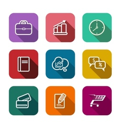 Set of flat business web icons vector image