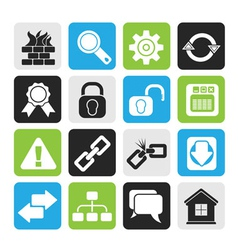 Silhouette Internet and web site icons vector image