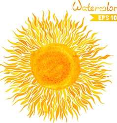 Watercolor sun vector
