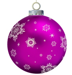 Xmas purple glass ball decorated by snowflakes vector