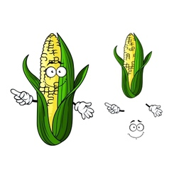 Cartoon ear of corn pointing vector