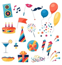 Celebration set of party icons and objects vector