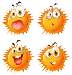 Sun with facial expressions vector