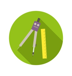 School compass and ruler flat style icon on round vector