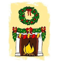 Fireplace with christmas decoration vector