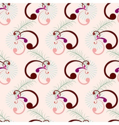 Seamless curly pink brown branch vector