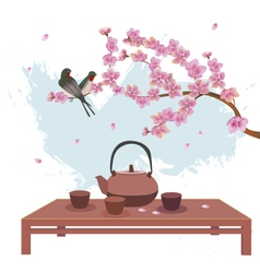 Sakura postcard advertising tea and coffee vector