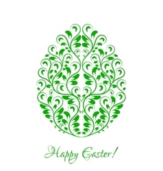 Easter egg with green floral ornament over white vector