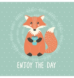 Enjoy the day card with a cute fox vector
