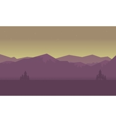 At sunrise mountain landscape of silhouettes vector