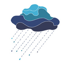 beautiful in blue tones cloud with raindrops vector image