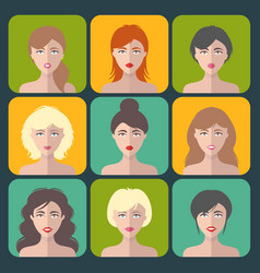 big set of different women app icons in vector image