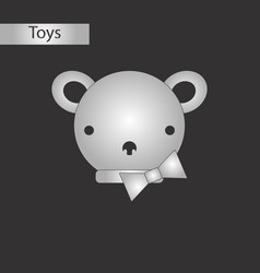 black and white style toy bear vector image vector image