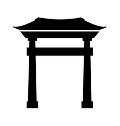 Black icon chinese gate vector