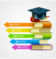 book stack info on white background vector image vector image