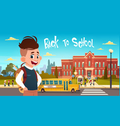 Boy going back to school over group of pupils vector