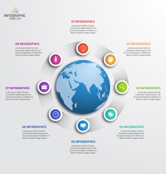 circle infographic template with globe 8 options vector image vector image