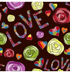 Colored art rose pattern Love seamless pattern vector image vector image