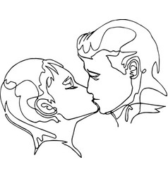 continuous line drawing - couple kissing vector image