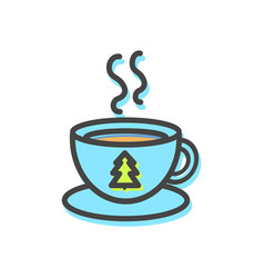 cup of hot tea christmas vector image