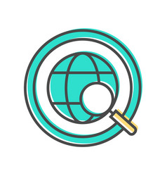 Data sorting icon with globe sign vector
